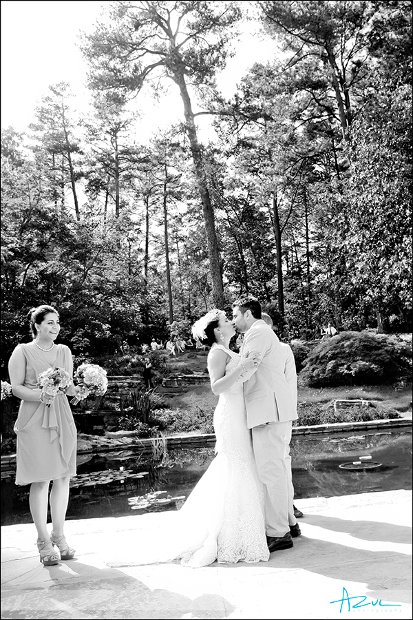 Kissing at the ceremony in Duke Gardens
