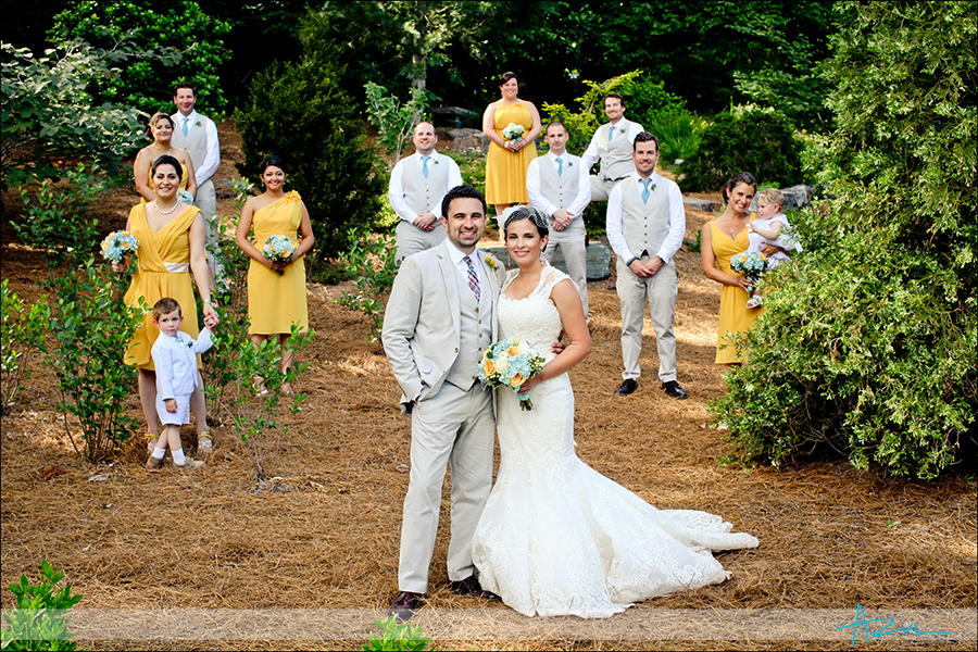 Creative bridal party wedding photographer Durham NC Duke gardens
