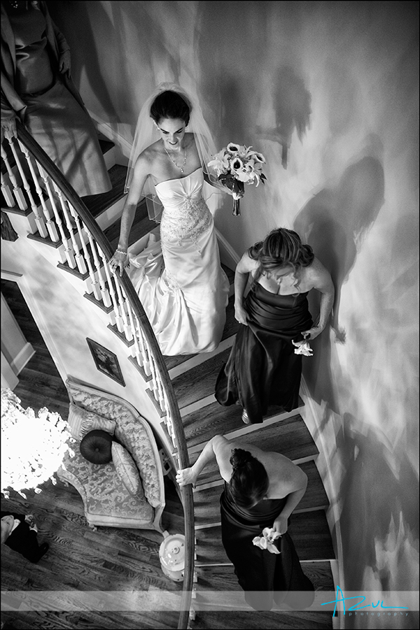 Highgrove Estate staircase photo of bride in NC