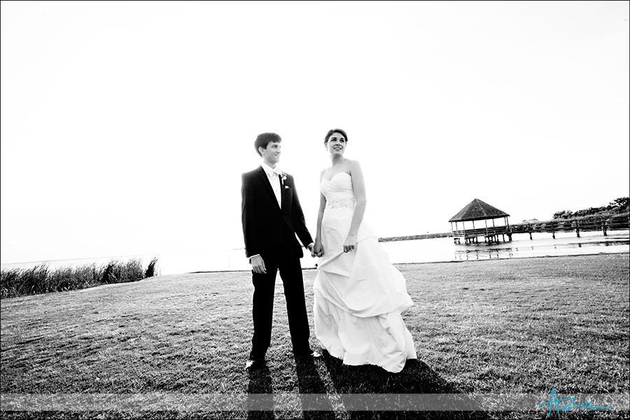 Creative portrait of the bride & groom Whalehead Club NC
