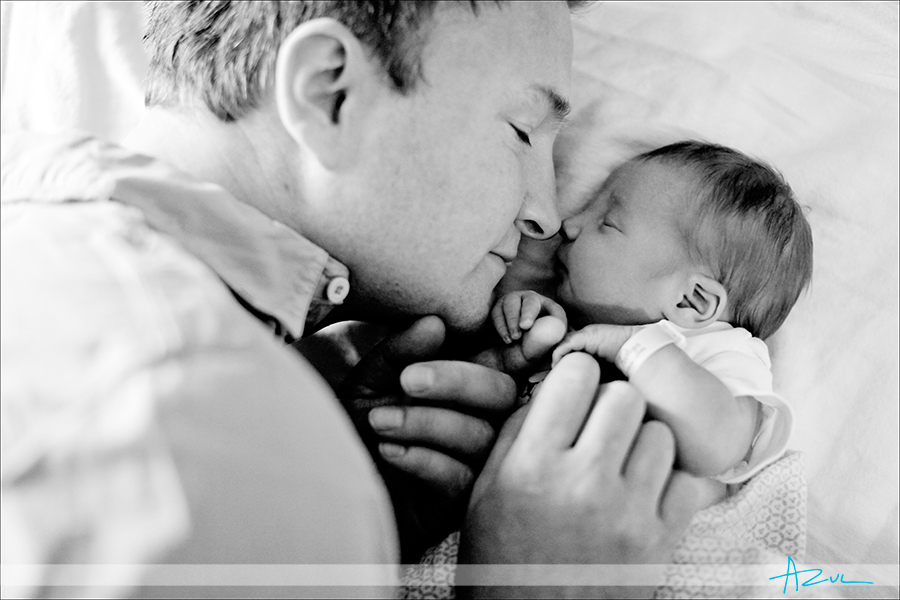 Tender moment of father & baby photography Cary NC