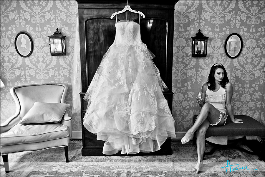 Bride getting ready at The Carolina Inn NC