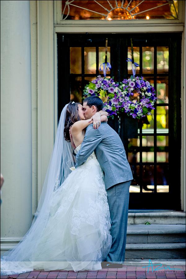 Happy bride & groom ceremony at Carolina Inn