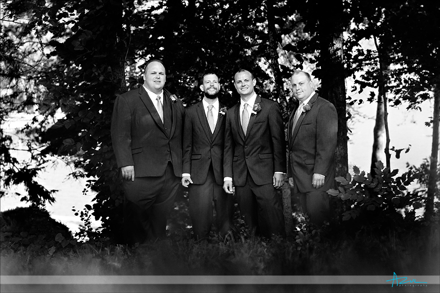 Creative wedding day portrait photography of the guys at Lake Lure NC