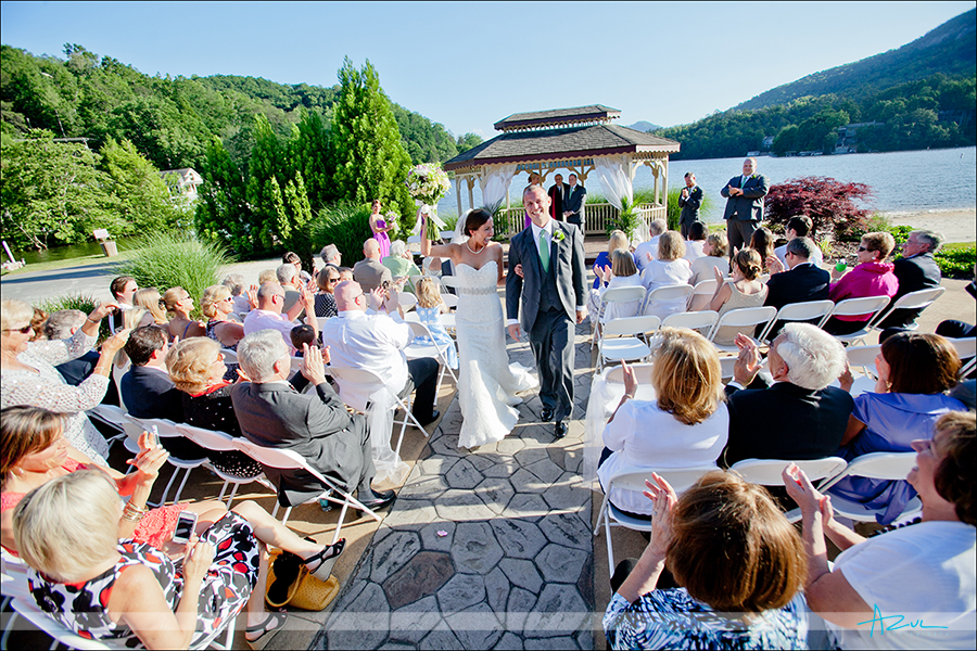 Beautiful wedding day ceremony location Rumbling Bald Lake Lure NC