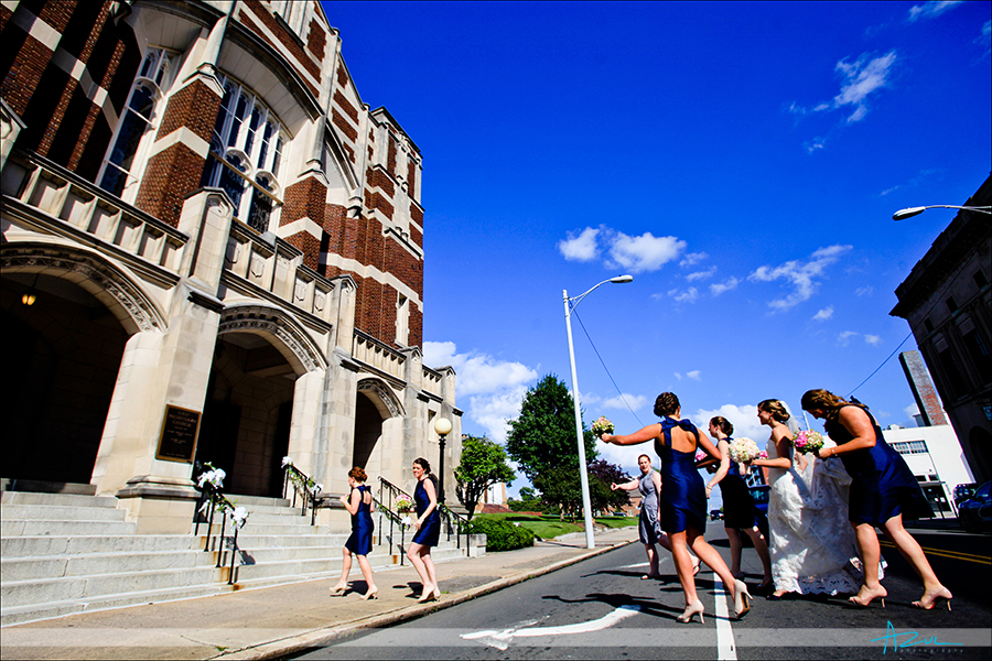 Wedding day ceremony photographer follows bride to First Presbyterian Church NC
