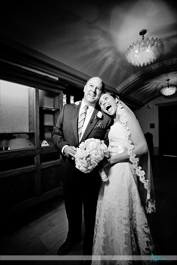 Fun father and daughter photograph on her wedding day Durham NC