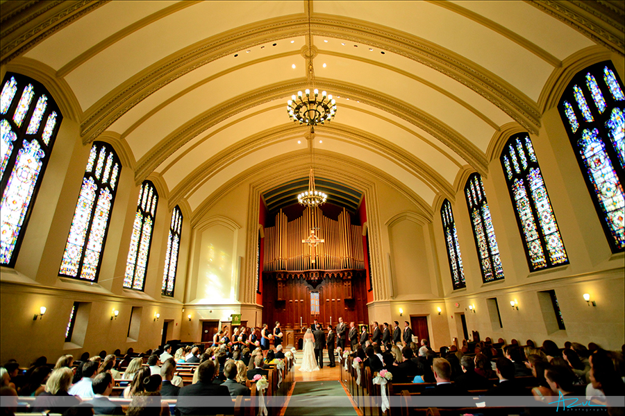 Beautiful wedding day ceremony photographer at First Presbyterian Church Durham NC
