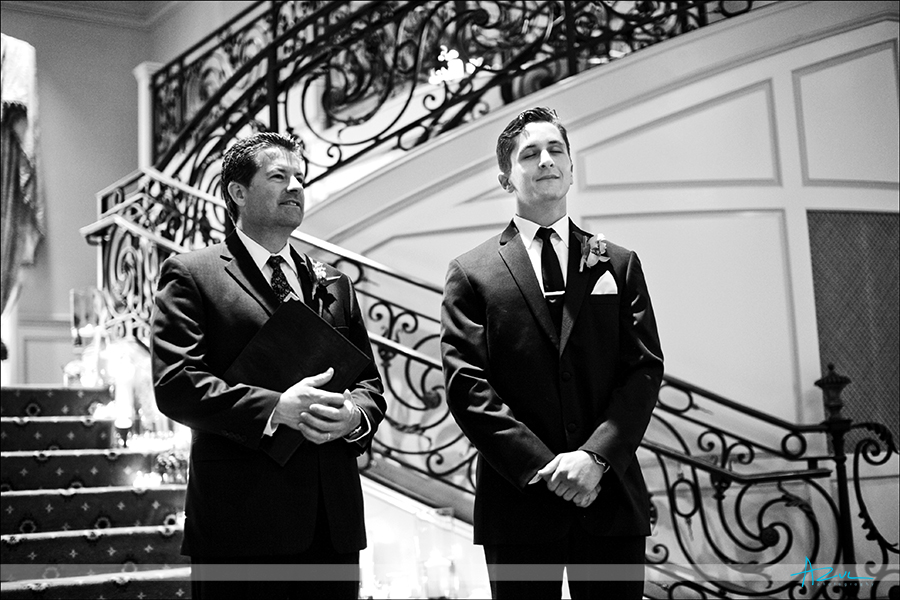 Emotional groom photography in wedding ceremony at Prestonwood Country Club, NC