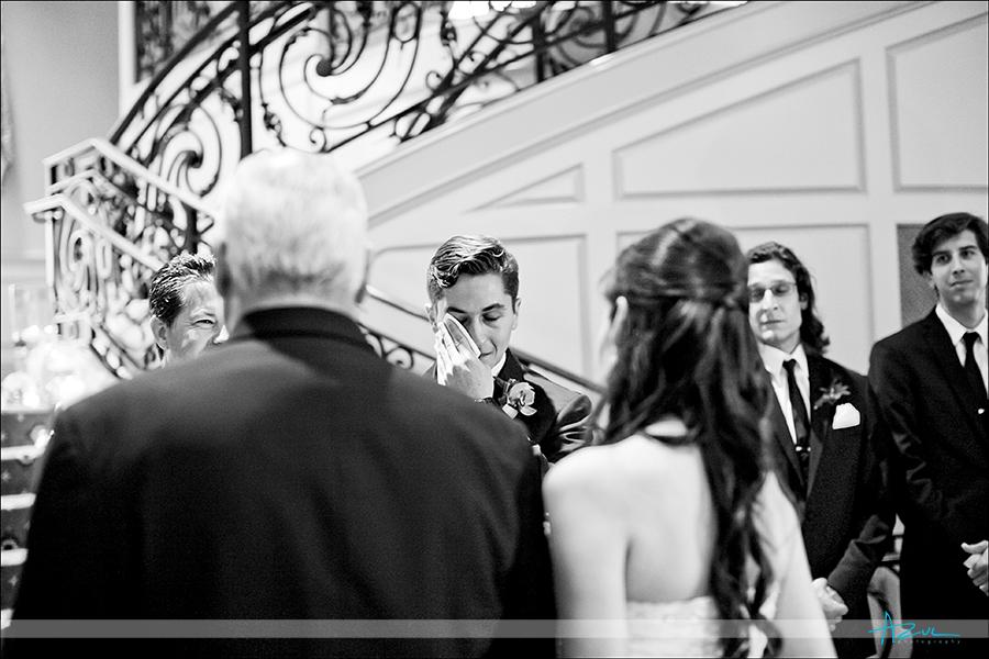 Perfect wedding day photography ceremony of groom at Prestonwood CC NC
