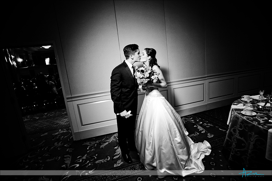Affectionate B&G photography after the wedding ceremony  Prestonwood CC in Cary NC