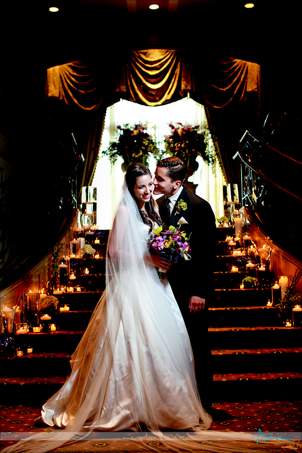 Iconic photographic portrait of B&G at  Prestonwood CC in Cary NC stair case