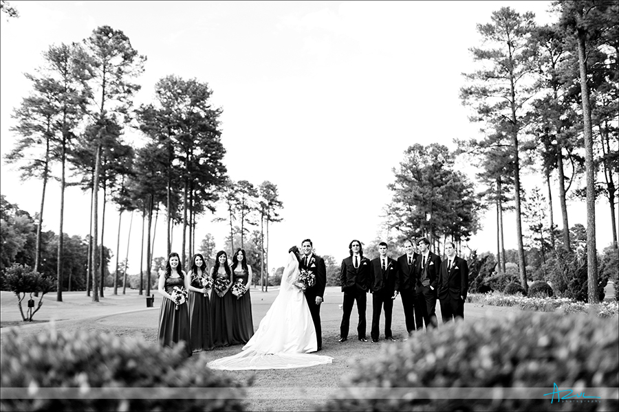 Creative bridal party portrait photography at  Prestonwood CC in Cary NC near Raleigh