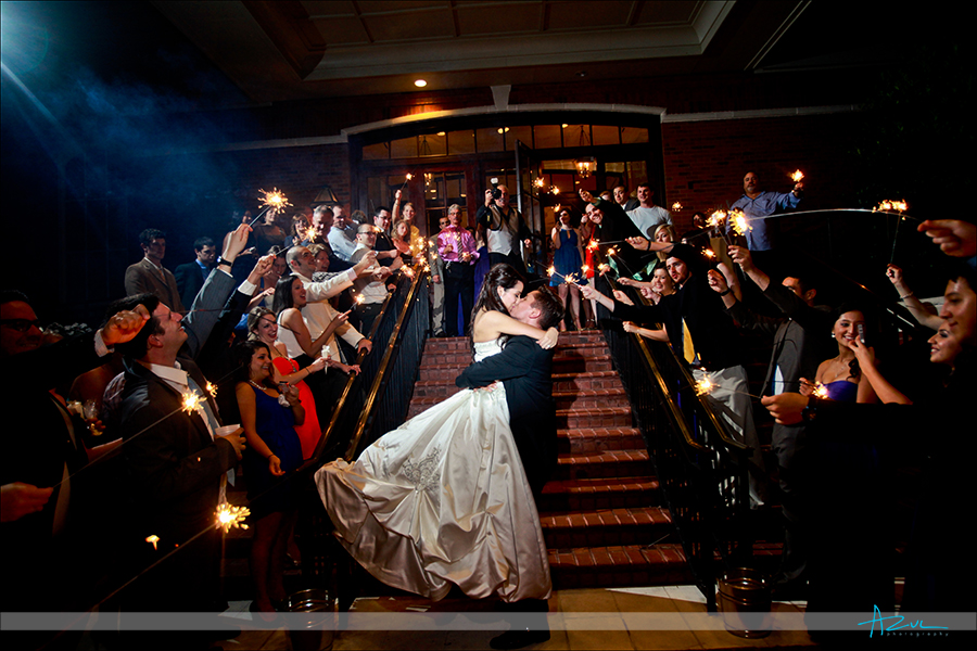 The best sparkler wedding day photography exit photograph at  Prestonwood CC in Cary, near Raleigh NC