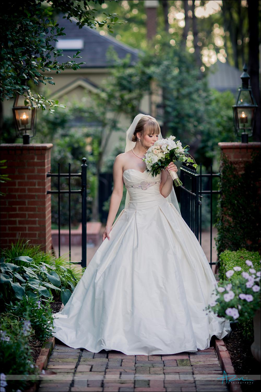 Outdoor bridal portrait Duke Mansion NC