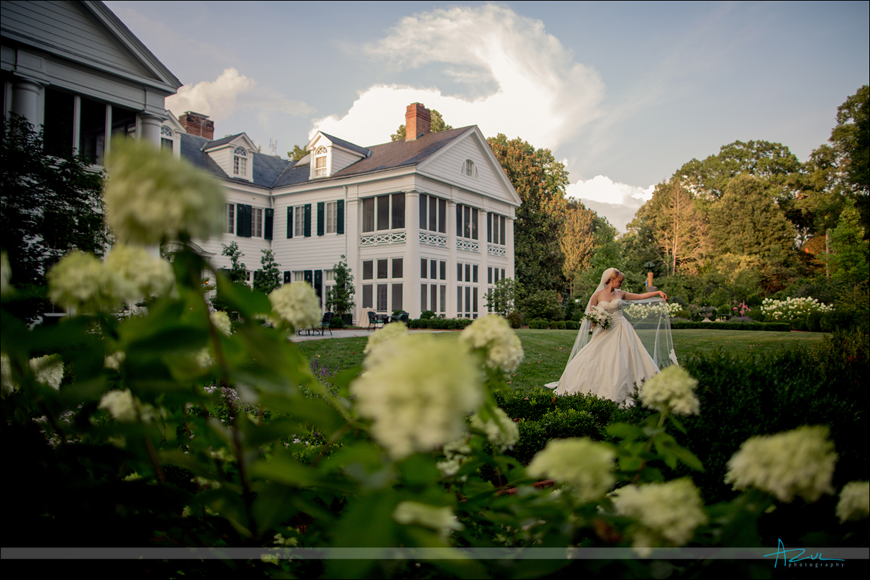 Duke Mansion Flowers bride veil bridal portrait North Carolina