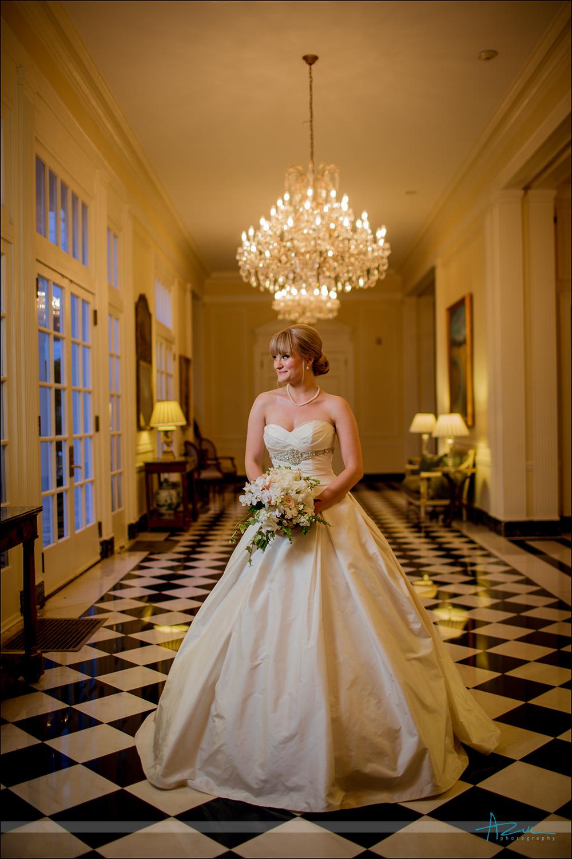 Checkered floorIndoor bridal portrait at Duke Mansion Charlotte NC