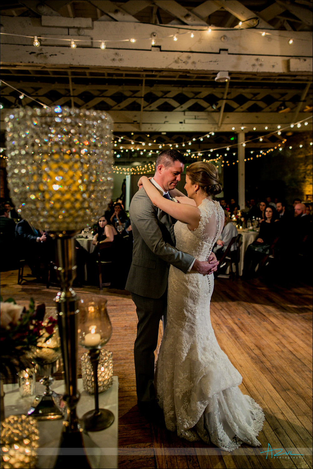 Raleigh Wedding photograph of bride and groom's first dance at The Stockroom, Raleigh NC