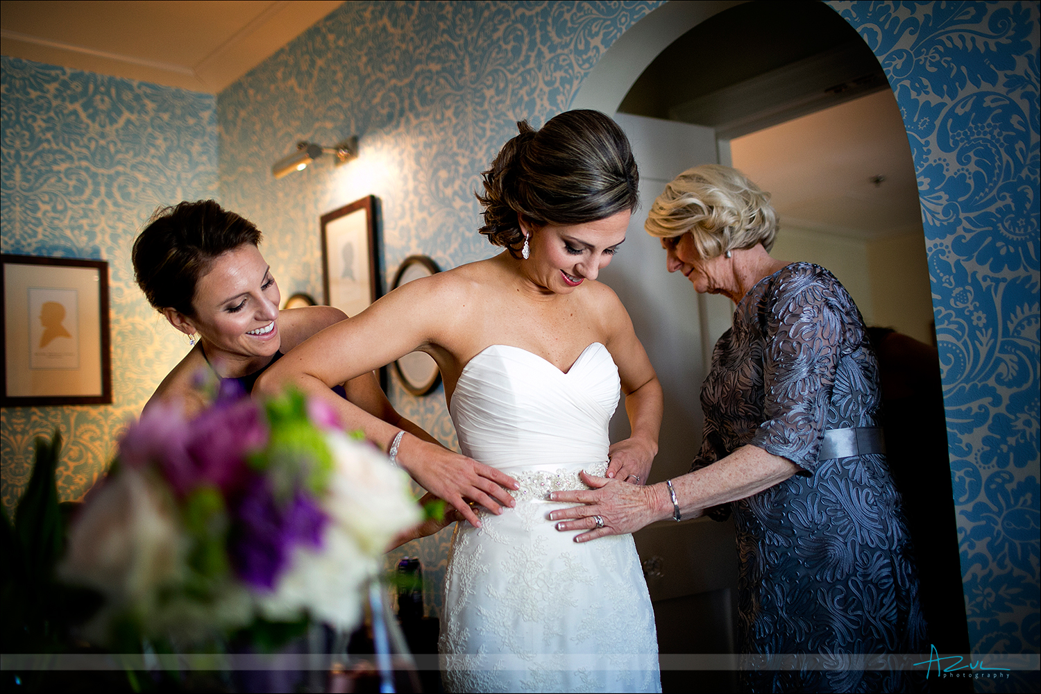 Photography of bride getting ready for wedding at The Carolina Inn NC