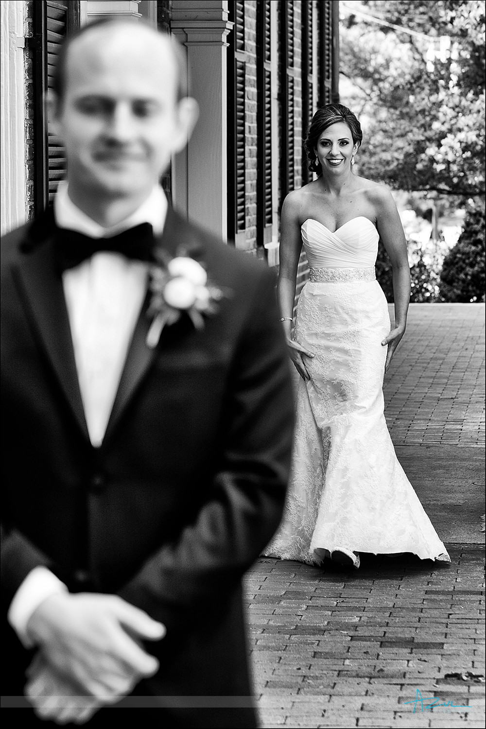 Photography of the bride and groom's first look while at The Carolina Inn in Chapel Hill NC