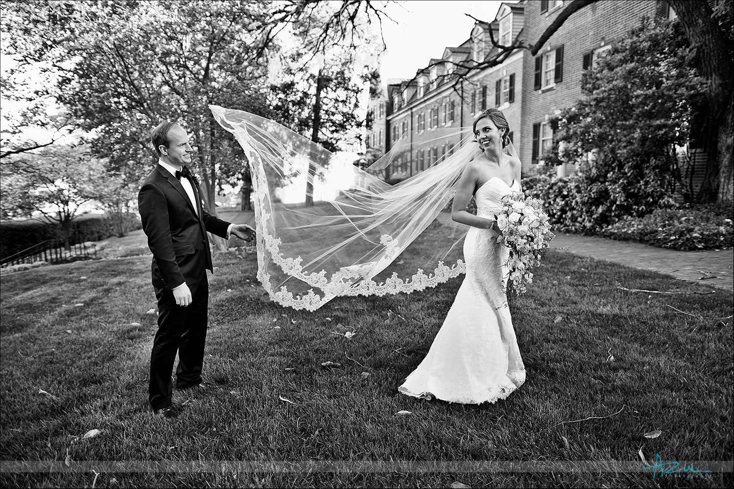 Fun wedding day photography portrait of bride and groom at The Carolina Inn , NC