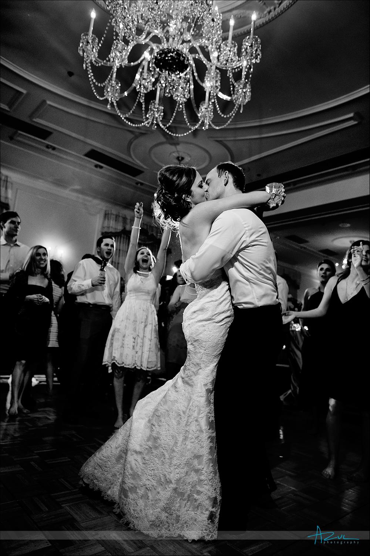 Wedding day dance floor portrait photography of B&G Chapel Hill NC