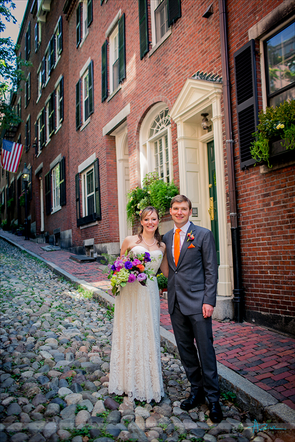 Famous wedding day portrait location in Boston is Acorn Street for B&G