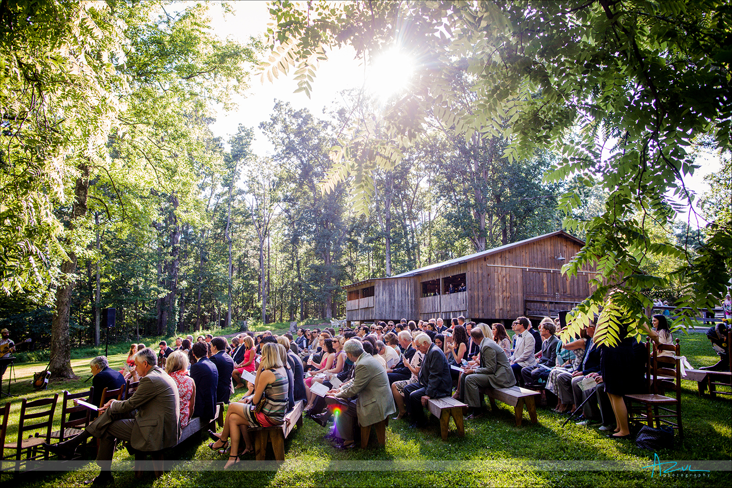 Best outdoor wedding ceremony photography of venue in Chapel Hill, NC