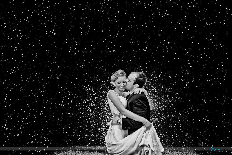 Hurricane rain bridal portrait of Bride and Groom Raleigh, NC
