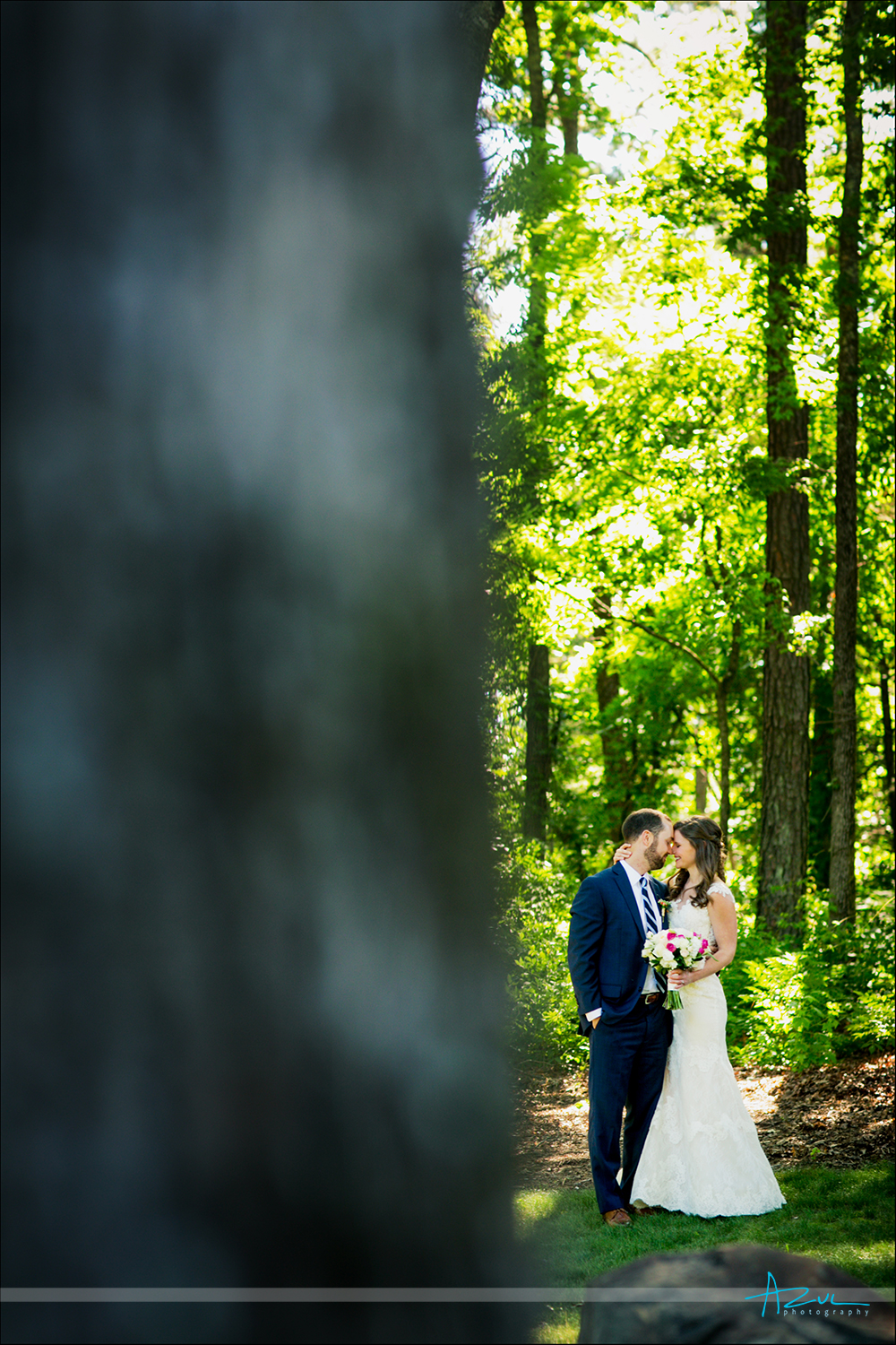 Wedding day portrait photography of Bride and groom after wedding in Chapel Hill, NC
