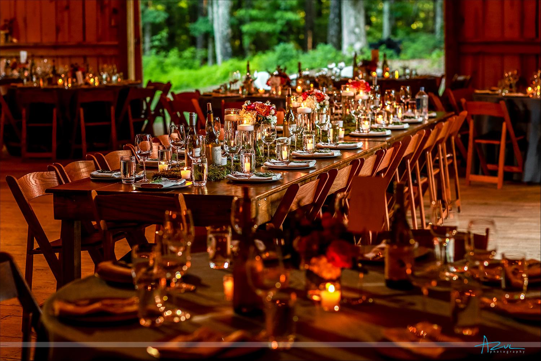 Beautiful barn wedding table setting in North Carolina