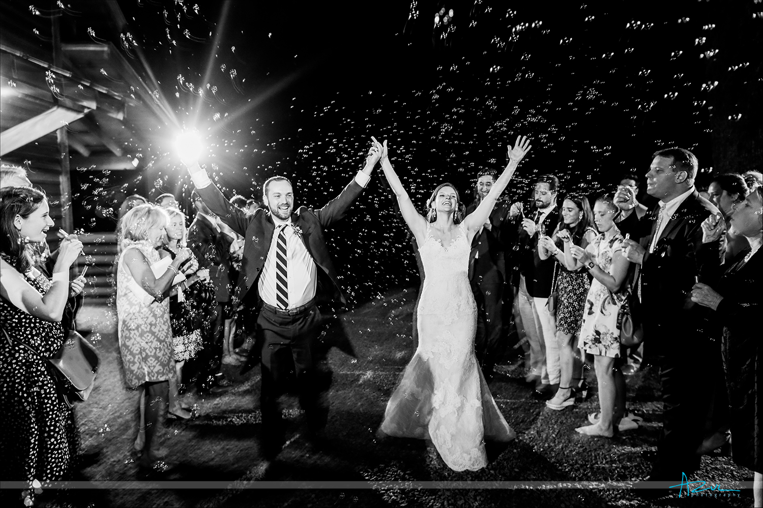 Raleigh wedding photographer heads to chapel hill to capture bubble exit