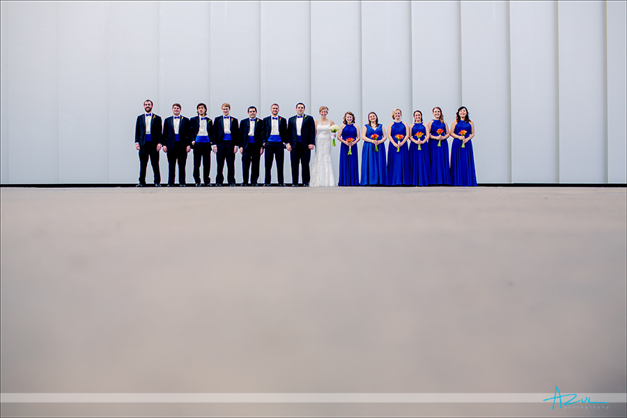 Wedding party portrait at the NC Museum of Art in Raleigh, NC