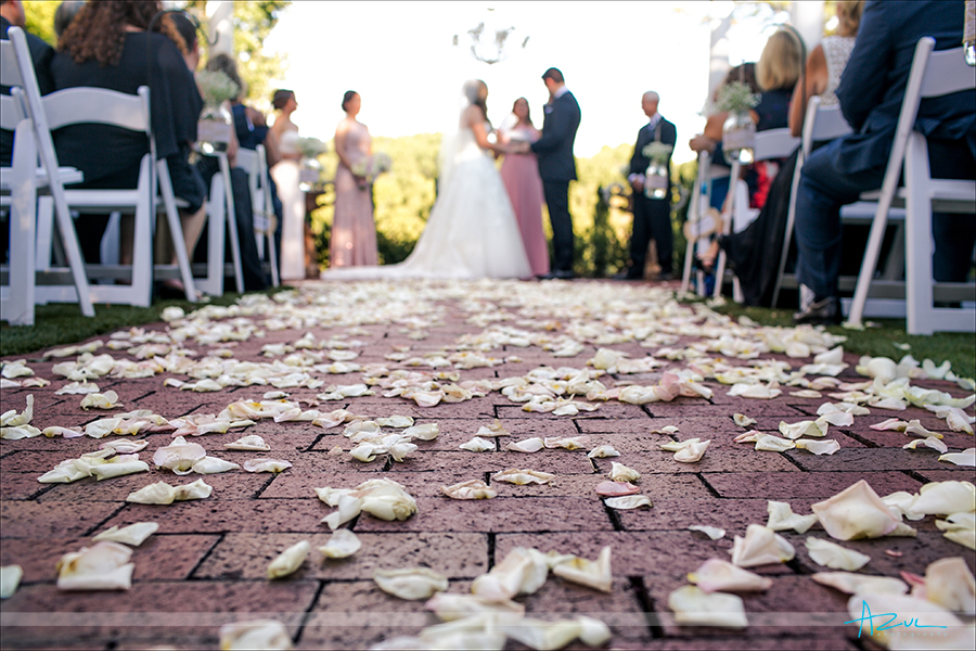 Wedding photographer uses a great detail shot of rose petals leading the viewer to the bride and groom in North Carolina.