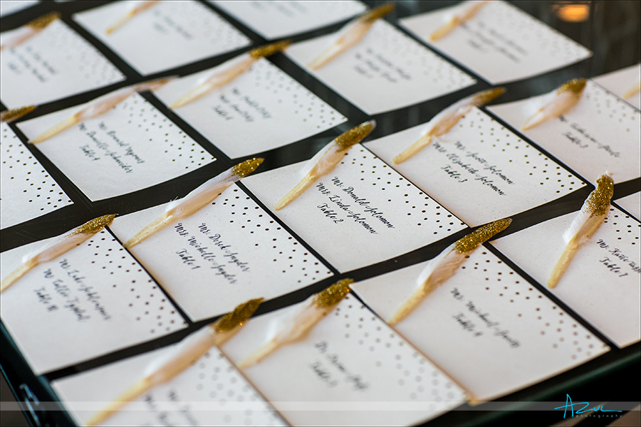 Escort card detail shots from a wedding photographer is a must for brides in North Carolina.