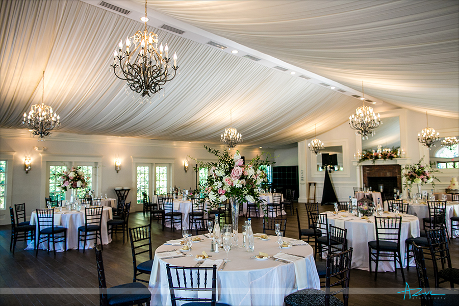 Flowers form Flowers on Broad Street enhance Highgrove Estate's ballroom in Fuquay Varina, North Carolina