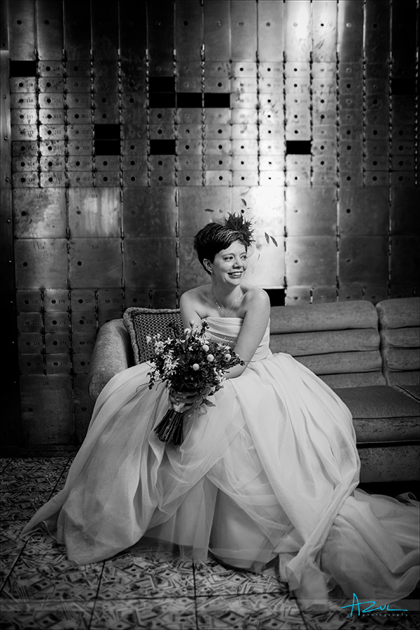 Wedding day bridal portrait inside the bank vault at 21C in Durham NC