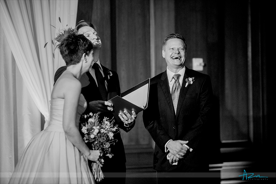 Wonderful wedding day ceremony photograph of the happy groom at 21c in Durham