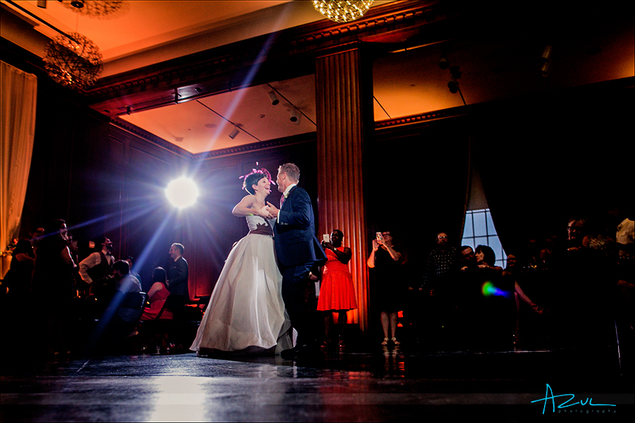 Raleigh wedding photographer captures the best moment of the first dance at 21c.