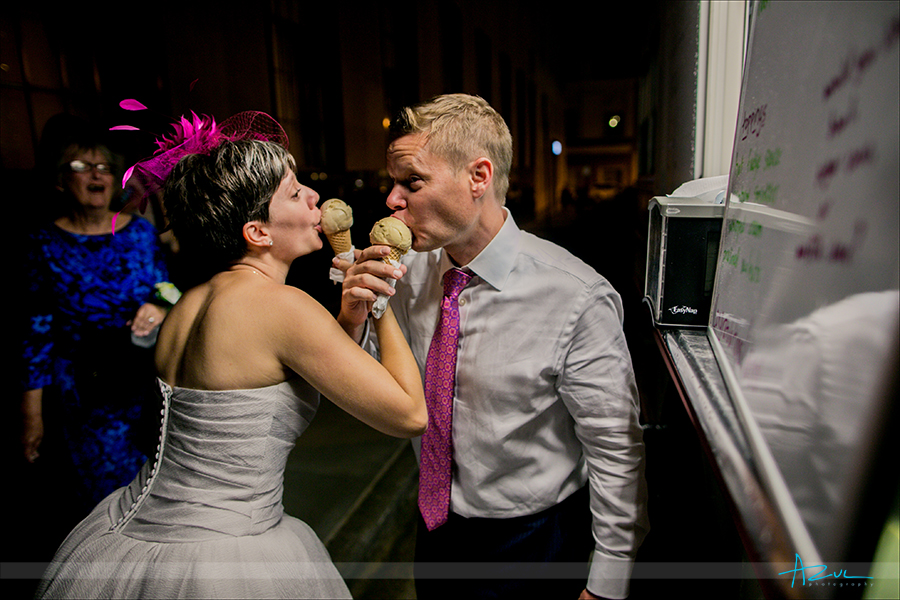 Ice cream is the new desert trend for weddings in North Carolina and 21c hoetl & museum is next to one of the bese
