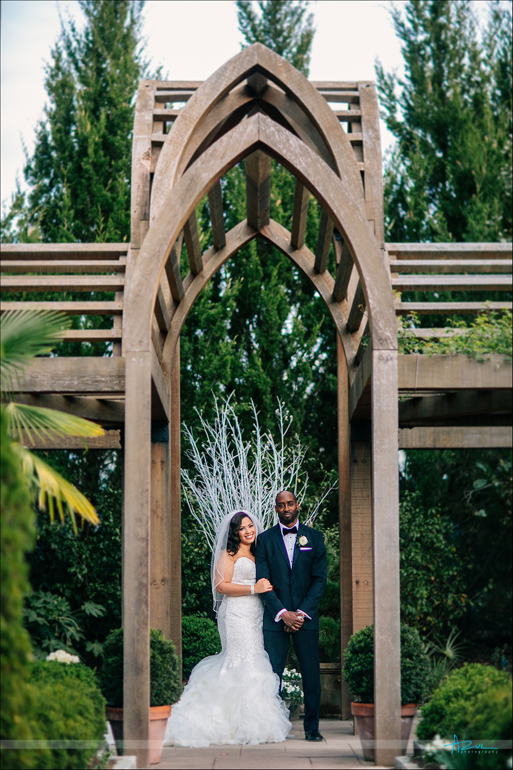 Best wedding day photography portrait of bride and groom at Duke Gardens in Durham NC