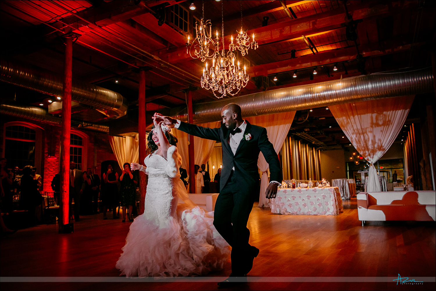 Wonderful first dance photography shot at The Cotton Room for a wedding recption in Duehm NC
