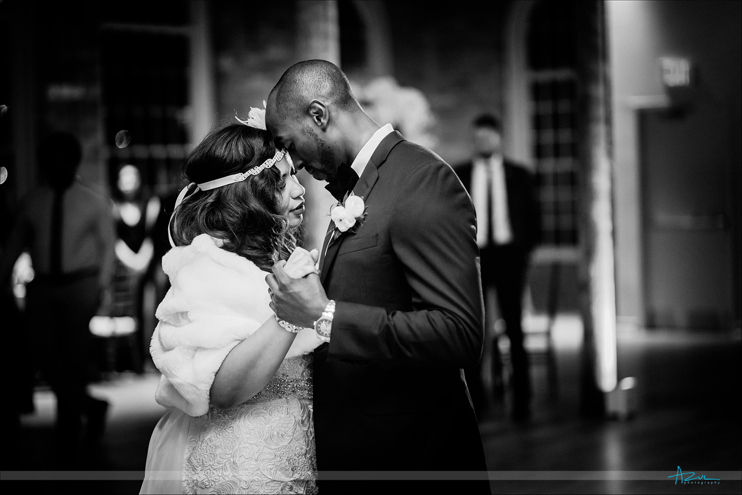 Beautiful moment between the bride and groom during their first dance at their wedding reception in Durham NC