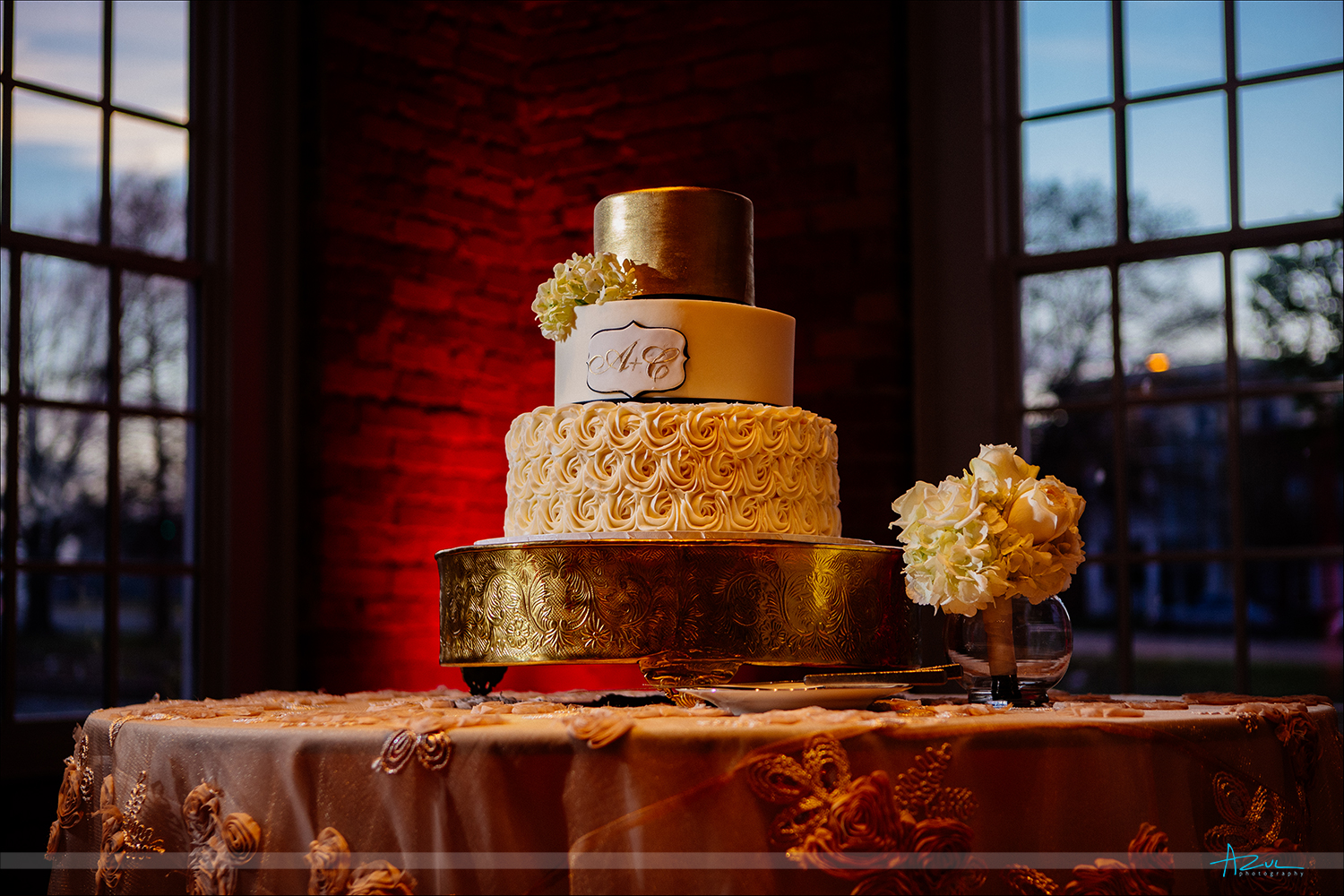 Perfect wedding day cake for the couple and the details were delicious and amazing at The Cotton Room in Durham NC