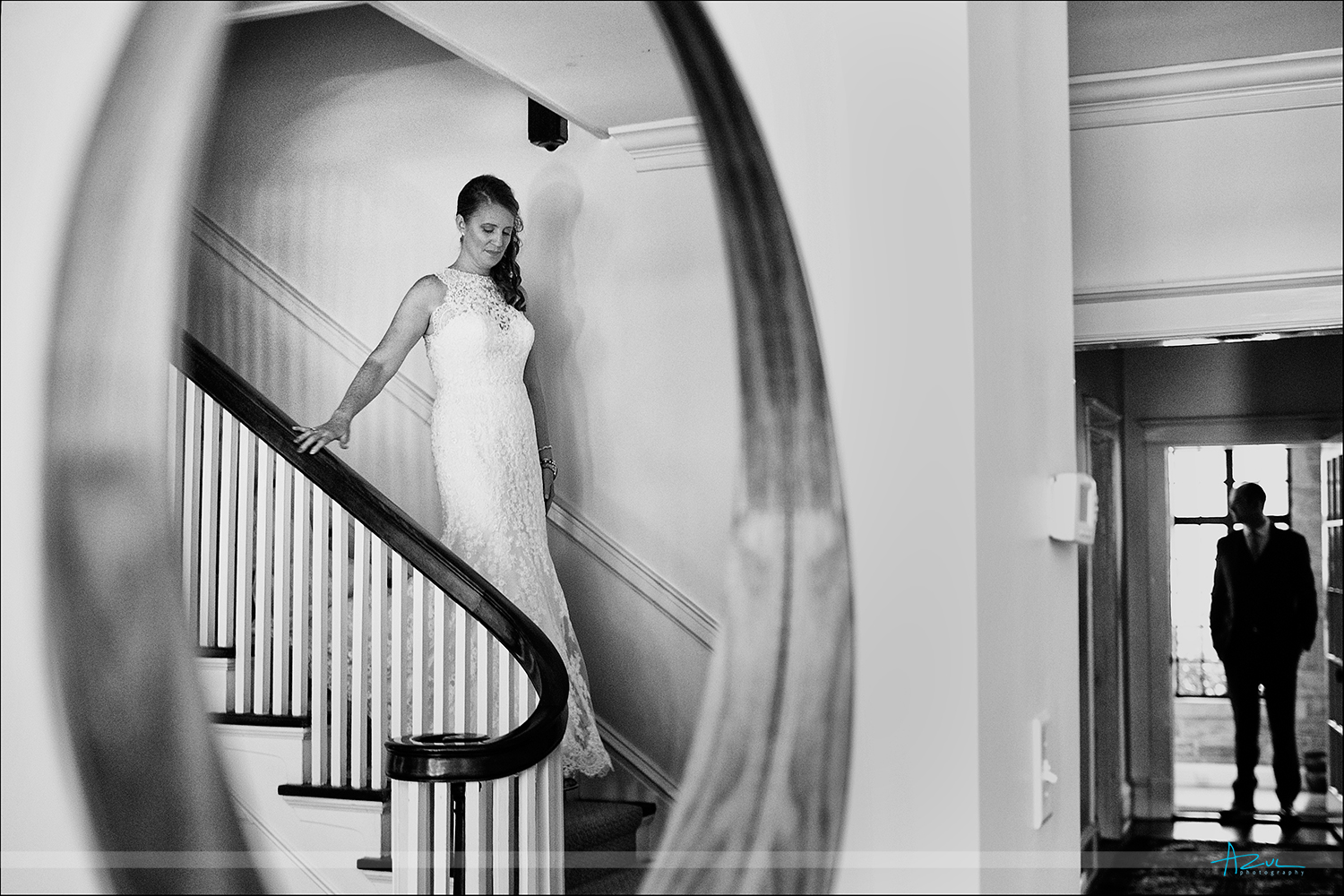 First look photography with a unique perspective during the wedding in Raleigh NC