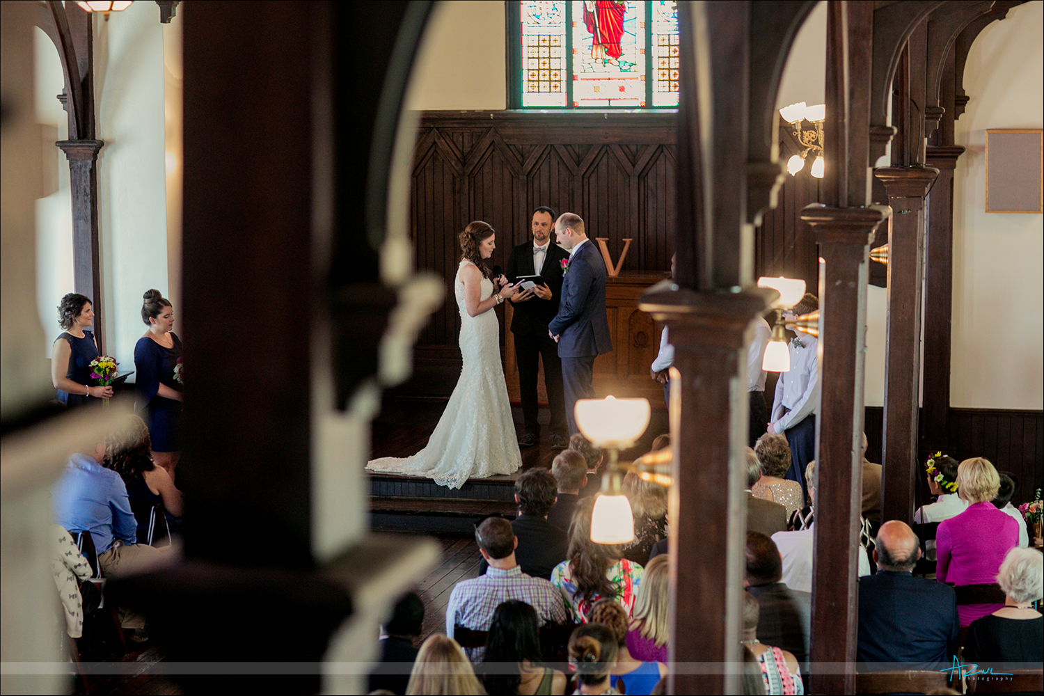 Beautiful vows spoken by the bride at her wedding in All Saints Chapel in Raleigh, NC