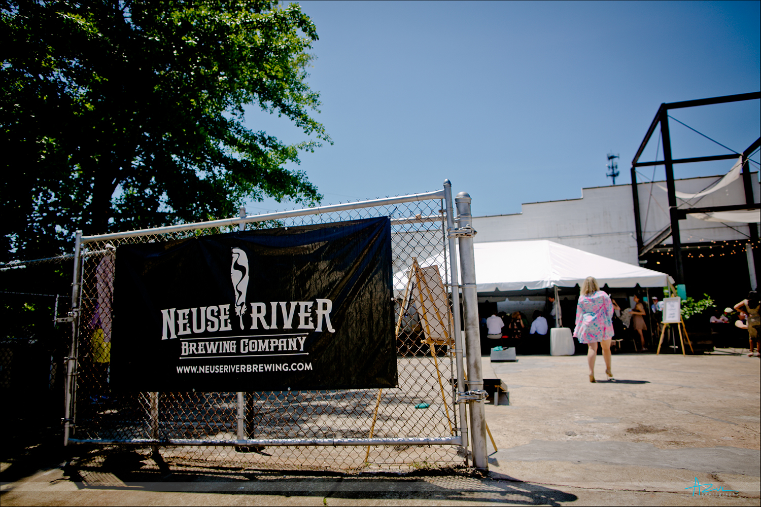 Fun wedding reception location was at Neuse River Brewing Company in Raleigh