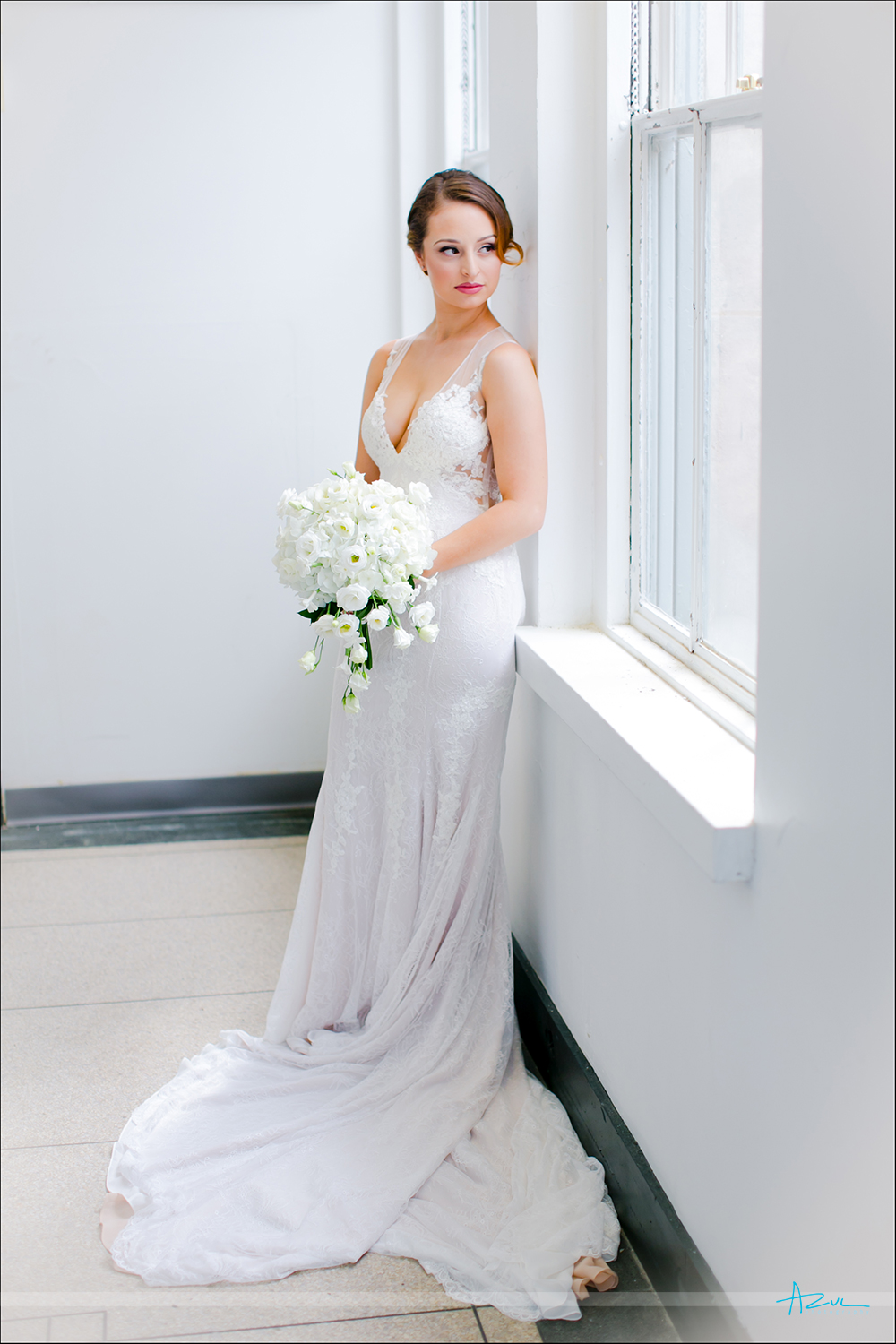 Beautiful wedding day bridal portrait of Rose while at 21c Museum & Hotel in Durham NC