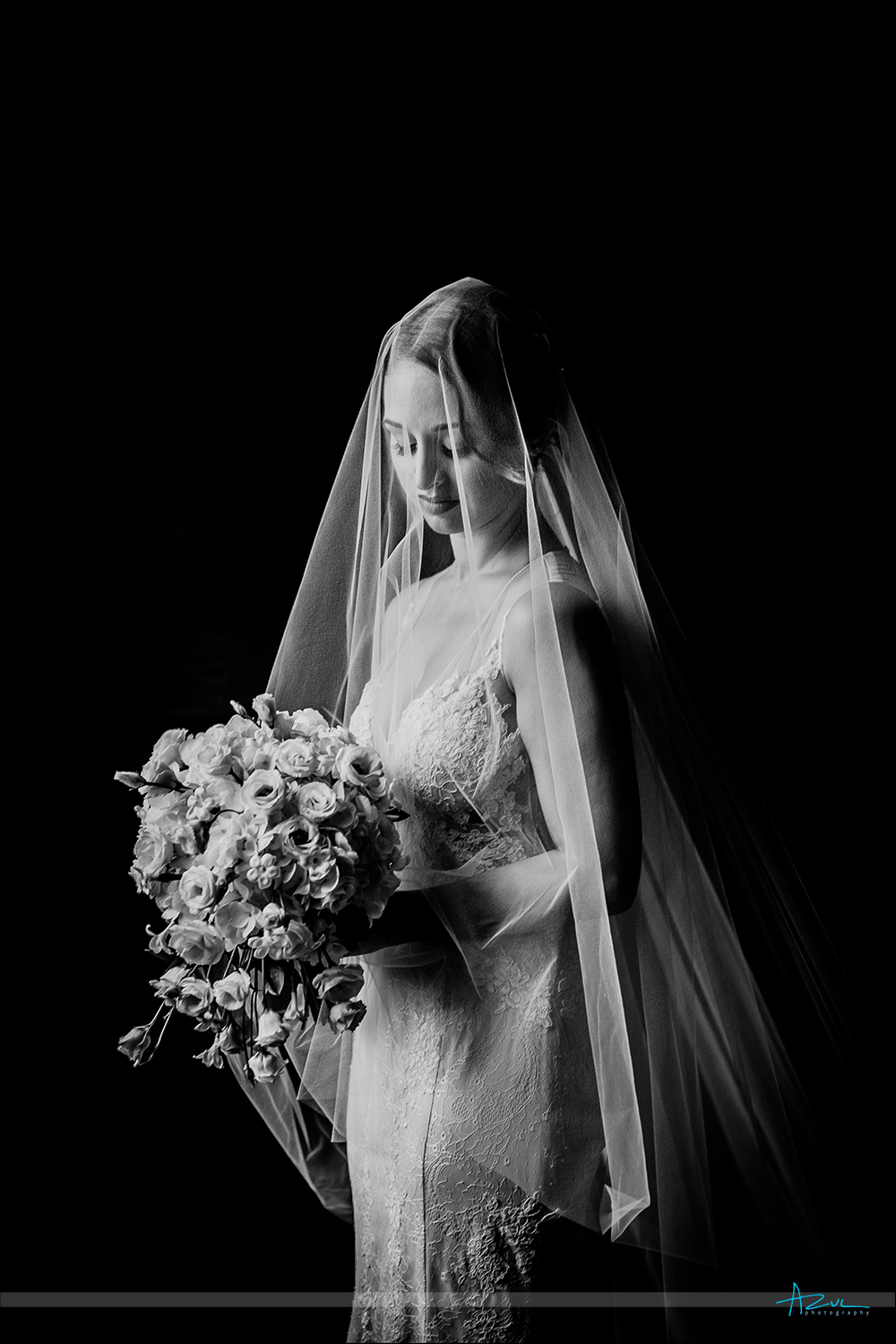 Classic black and white bridal portrait of the bride on the day of the wedding at 21c Museum & Hotel in Durham