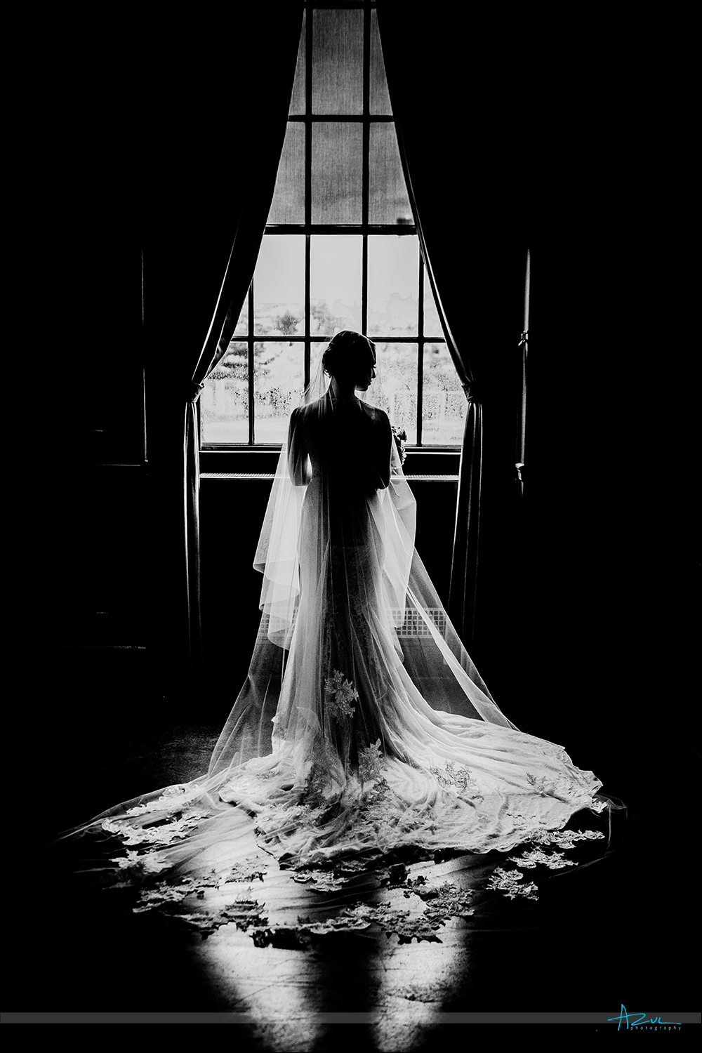 Amazing bridal portrait of the bride on her wedding day in B&W at 21c Museum & Hotel in Durham NC
